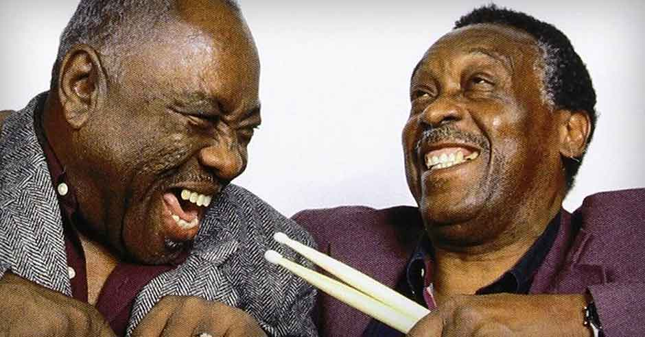 Clyde Stubblefield (right), drummer for James Brown.
